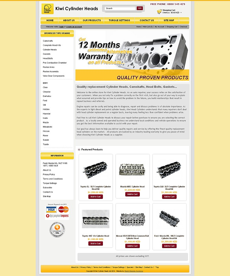 Client Project - Kiwi Cylinder Heads Website